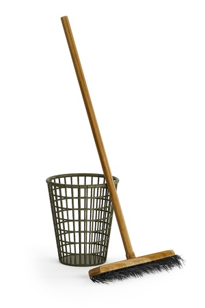 This image with a mop and garbage Baskets