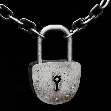 Old padlock, connecting iron chains, isolated on black background Stock Photo - 8990525