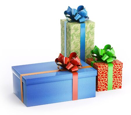 Three boxes of gifts: blue, red and green