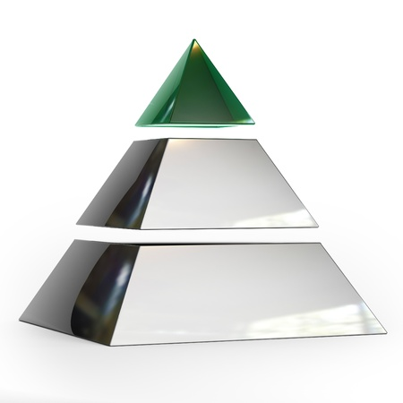 Pyramid of three parts with the top of the emerald