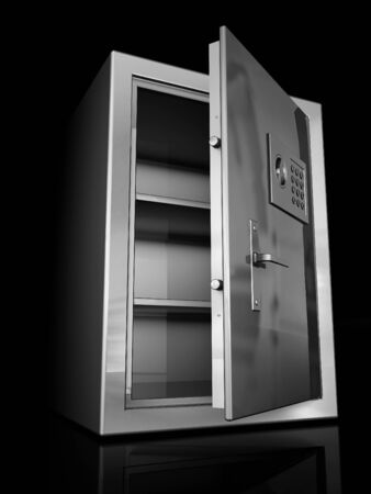 Safe deposit box is empty, open. Isolated on a black background