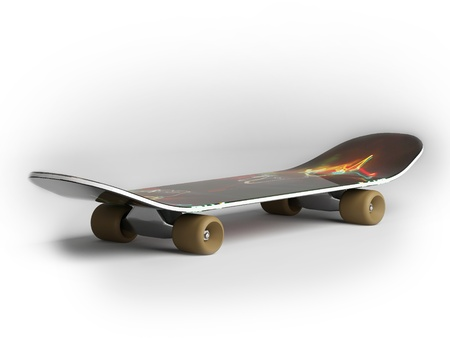 This 3D model of a skateboard Stock Photo