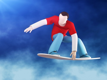 3D snowboarder jumping with grab (capture board). Against the blue clear sky