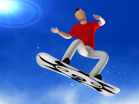 3D person snowboarder jumping in on the background of the dove sunny sky Stock Photo