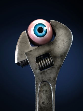 Dirty rusty wrench grips the eye. Close-up isolated on blue background Stock Photo