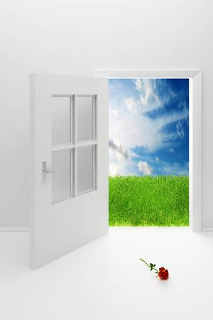 Open the white door, a green field, blue sky and a rose