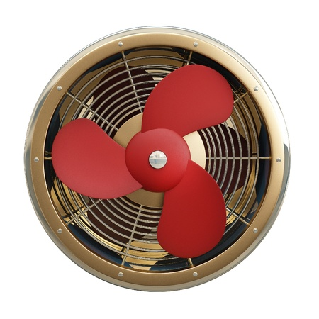 Fan with red blades in gold. Isolated on white background Stock Photo