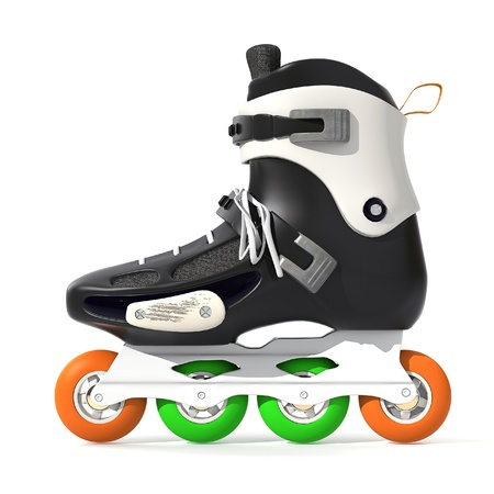 Roller Skates Black with white accents on a white background Stock Photo