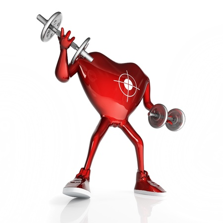 Heart in the form of character with the dumbbells. In sneakers. Isolated on white background 写真素材