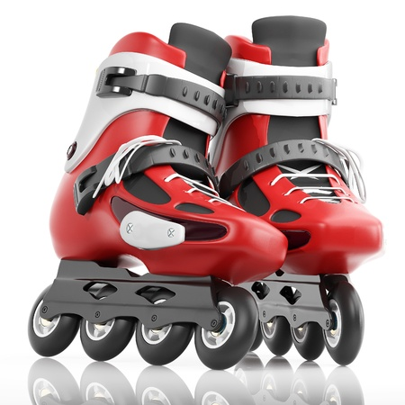 roller skates: Roller Skates Red with white accents. Isolated on a white background Stock Photo