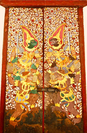 Mural on door at Wat Phra Kaew photo