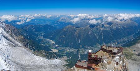 Panorama from Aiguille du Midi, Chamonix, France Stock Photo