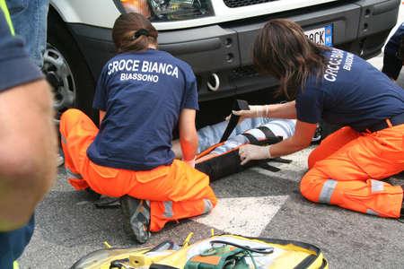 paramedical: car crash emergency Stock Photo