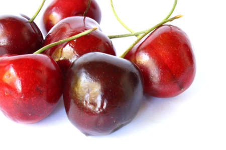 red, sweet group o cherries on white background Stock Photo - 1134934