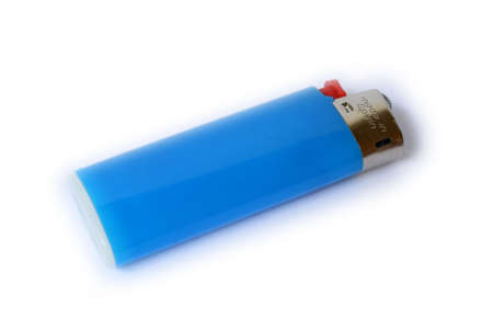shiny blue lighter on white bacground, red button photo