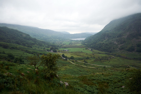Llyn gwynant, the lake near snowdon, in the middle of snowdonia national welsh park