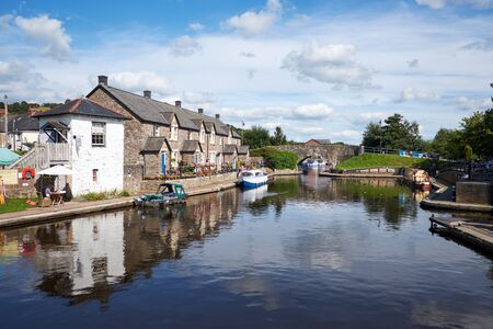 Houses on Brecon canal basin Powys Wales UK