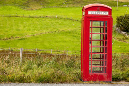 cell phone booth: Classical red British phone box