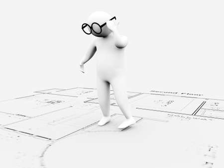 working area: 3d man on architecture plans