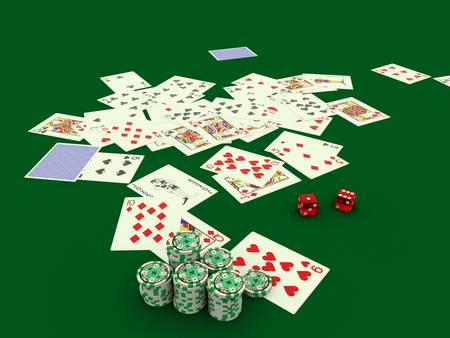 poker cards on green table photo