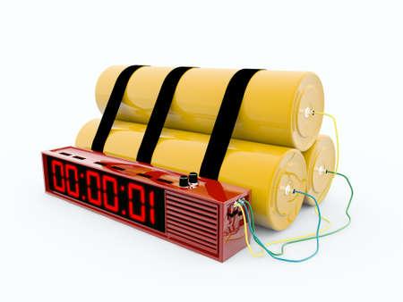 dinamita: bomba aislada sobre fondo blanco Foto de archivo