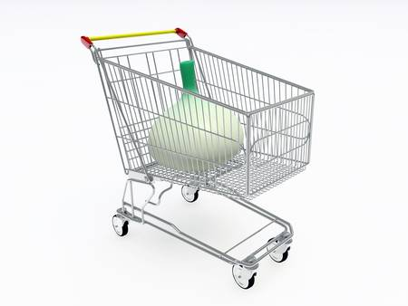 shopping cart with a big onion isolated on white background photo