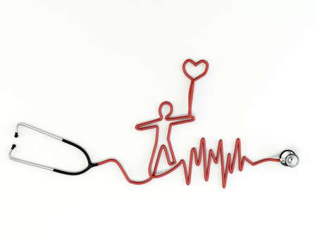 stethoscope shaped isolated on white background photo