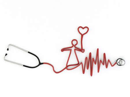 stethoscope shaped isolated on white background Stock Photo