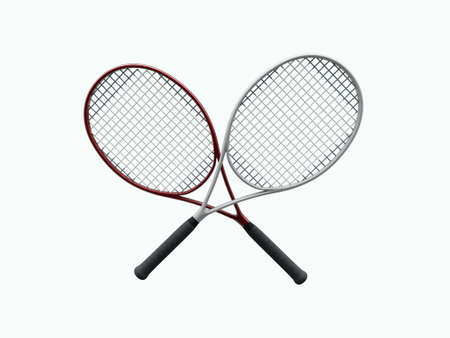 web 2: tennis rackets isolated on white background Stock Photo
