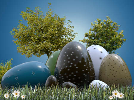 easter eggs decorated in various colors and patterns photo