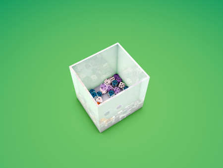 dice into a glass cube Stock Photo - 9739916