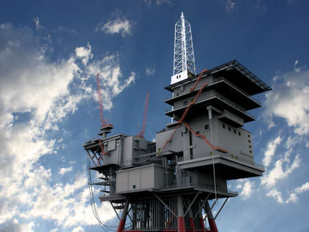 3D oil platform against the blue skies Stock Photo - 9881109