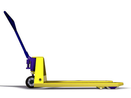 hand truck: 3D pallet truck isolated on white background