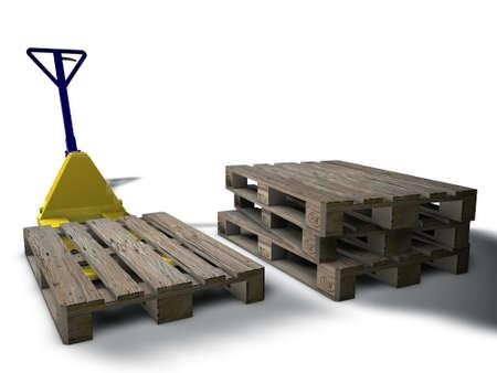 warehouse equipment: 3D pallet truck loading pallets Stock Photo