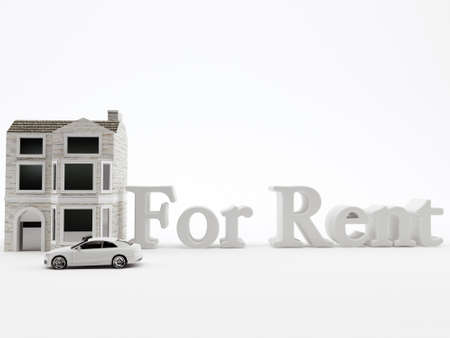 for rent: house for rent isolated on white background Stock Photo