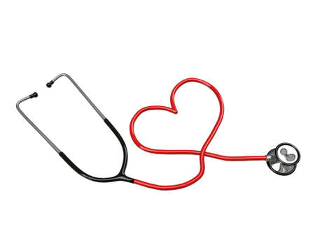 stethoscope heart silhouette isolated on white background photo