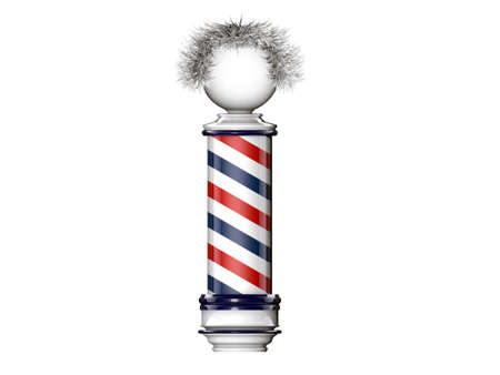 barber pole isolated on white background photo
