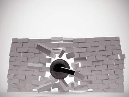 destroying: demolition ball breaking a brick wall