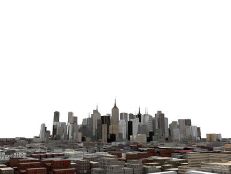 downtown skyline isolated on white background photo