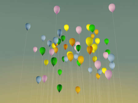 colored balloons up in the sky Stock Photo - 10697266
