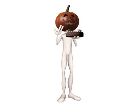 pumpkin man with a big cake say happy halloween photo