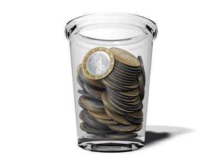 euro coins in a glass cup photo