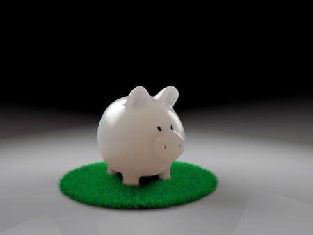 cash back: piggy bank on green grass Stock Photo