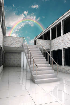 stairs under the rainbow photo