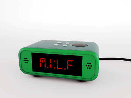 retro alarm clock green milf isolated on white background photo