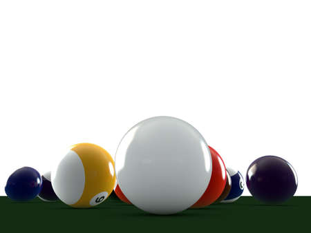 pool balls on green table photo