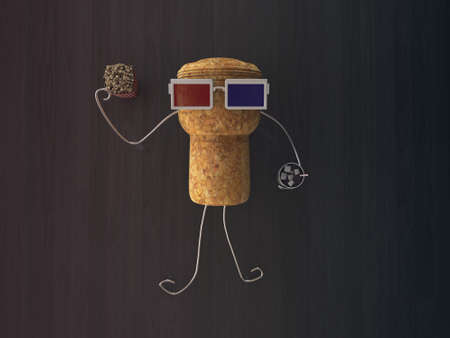 cork cap with 3d glasses on the floor photo