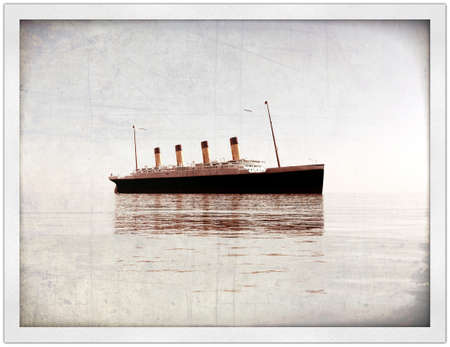 old picture: titanic in old picture Stock Photo