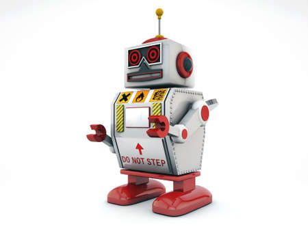 tin robot: robot isolated on white background Stock Photo
