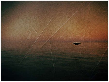 ufo over the sea in old grunge photo photo